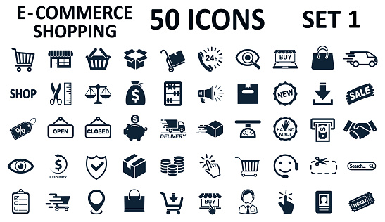 Set 1 of 50 shopping icons, set shop sign e-commerce for web development apps and websites - stock vector