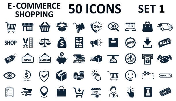 Set 1 of 50 shopping icons, set shop sign e-commerce for web development apps and websites - stock vector Set 1 of 50 shopping icons, set shop sign e-commerce for web development apps and websites - stock vector e commerce stock illustrations