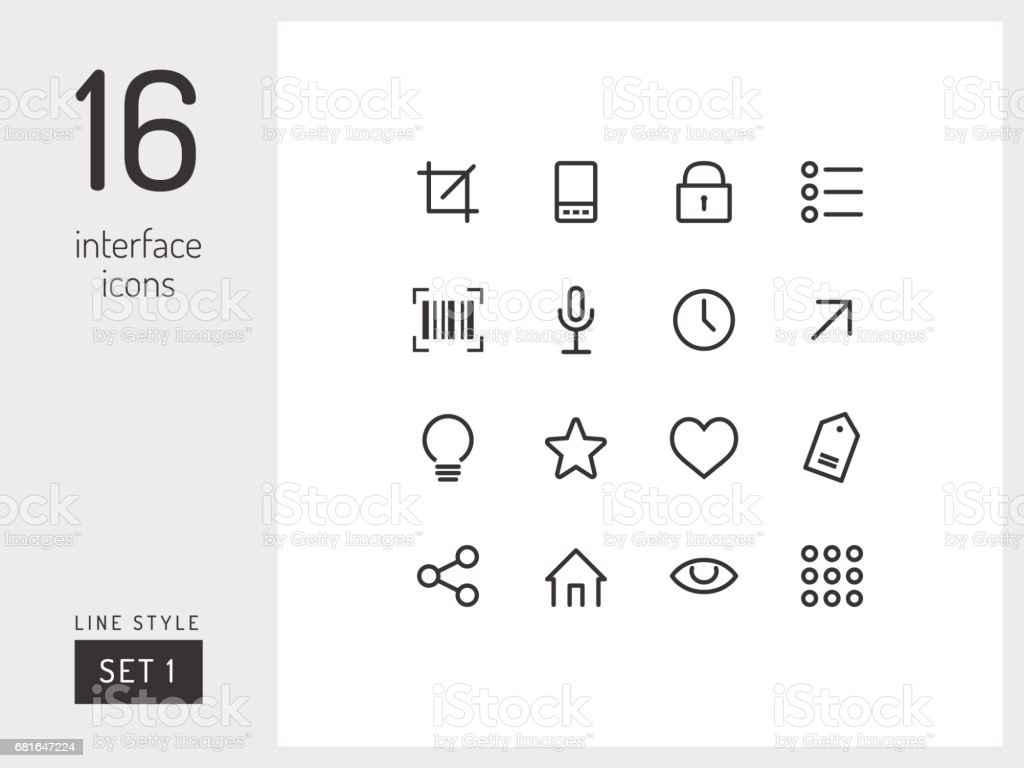 Set 1 of interface icons on the white background. Universal linear icons to use in web and mobile app. vector art illustration