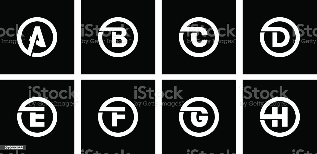 Set 1 of templates, capital letters inscribed in a circle of wide white bands with an overlay of shadows. To create emblems, monograms, logos. vector art illustration