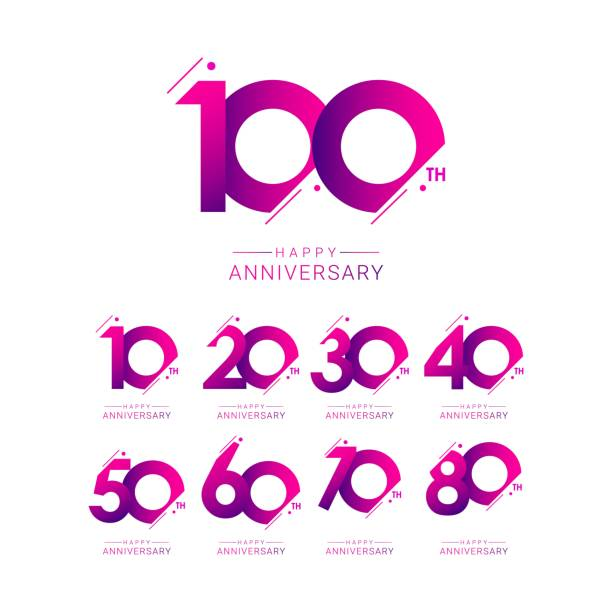 set 100th anniversary vector template. Design for celebration, greeting cards or print. set 100th anniversary vector template. Design for celebration, greeting cards or print. 100th anniversary stock illustrations