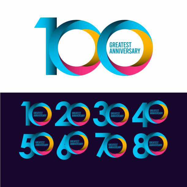 set 100th anniversary vector template. Greatest celebrations logo concept. Design for celebration, greeting cards or print. set 100th anniversary vector template. Greatest celebrations logo concept. Design for celebration, greeting cards or print. 100th anniversary stock illustrations