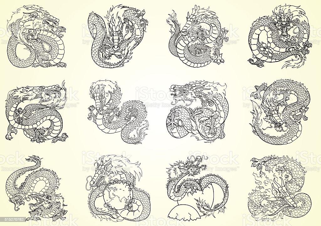 Набор 12 азиатские Дракон черный контур на белом фоне векторная иллюстрация