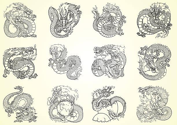 Bекторная иллюстрация Набор 12 азиатские Дракон черный контур на белом фоне