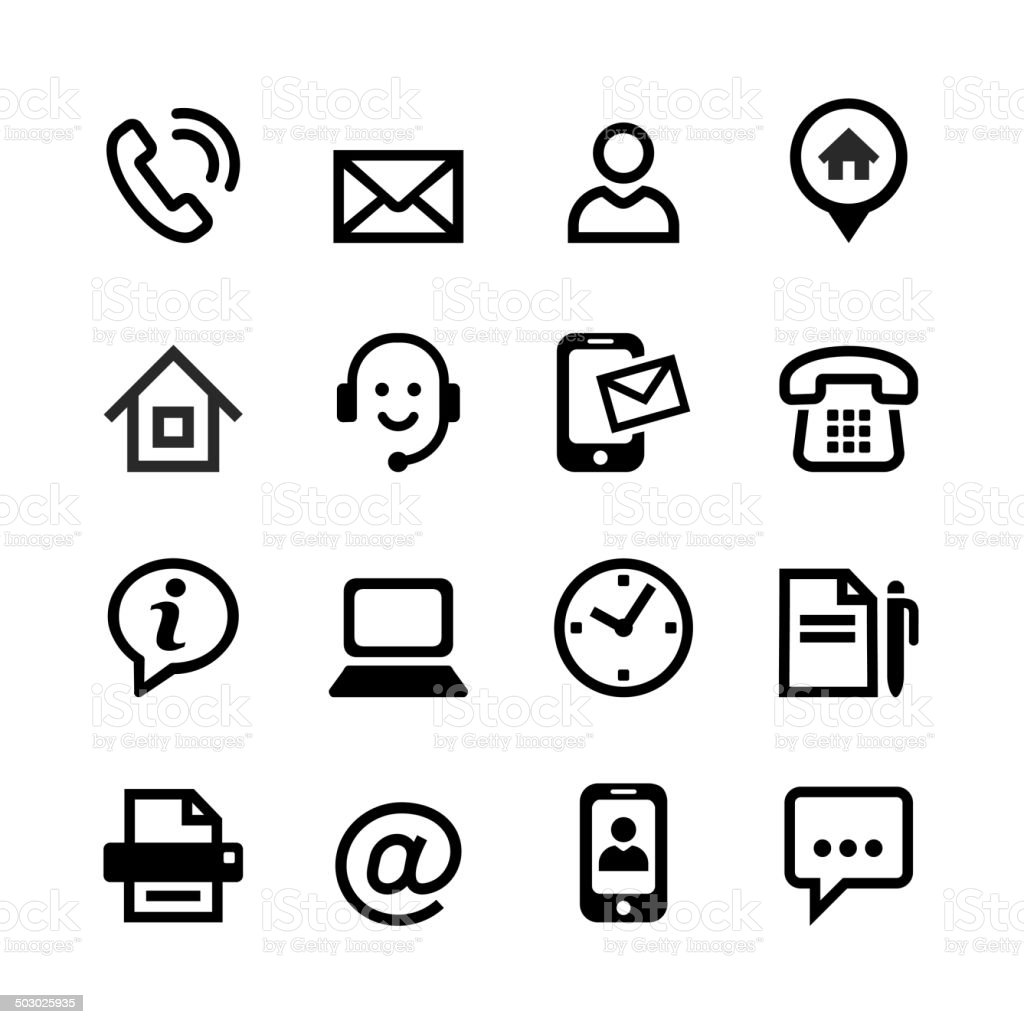 Set 16 basic icons - contact us vector art illustration
