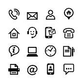 Set 16 basic icons - contact us