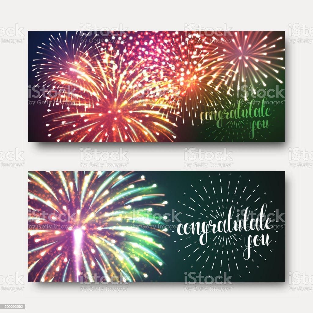 Set 2 brochures festive design with fireworks. Bright background printing vector art illustration
