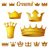 Set 2 of royal gold crowns isolated on white