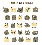 Set 25 doodle cats with different emotions handmade. Cat face