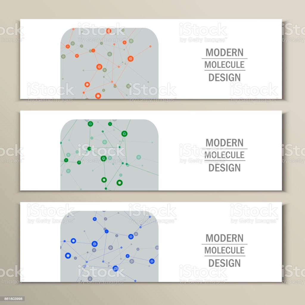 Set 3 abstract banner with geometric connect. Color composition for your design vector art illustration