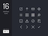Set 3 of interface icons on the black background.