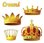 Set 3 of royal gold crowns isolated on white. Vector illustration.