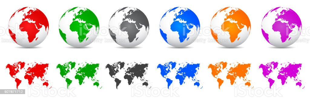 Set 3d vector globes with world maps vector stock vector art more set 3d vector globes with world maps vector royalty free set 3d vector globes gumiabroncs Image collections