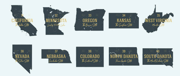 Set 4 of 5 Highly detailed vector silhouettes of USA state maps with names and territory nicknames Set 4 of 5 Highly detailed vector silhouettes of USA state maps with names and territory nicknames california map stock illustrations