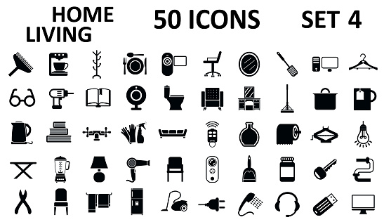 Set № 4 of 50 home living icons, furniture, house décor, bathroom, bedroom, garage and many more – stock vector
