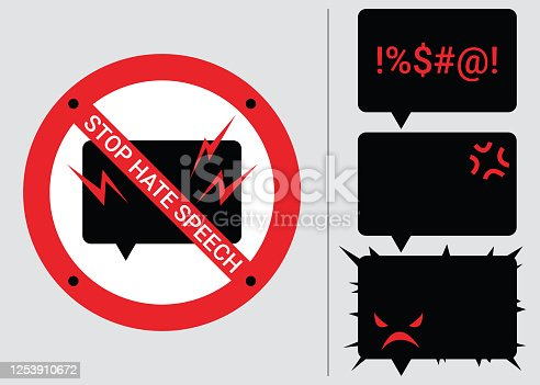 Set 4 prohibition signs of stop hate speech. Protest symbols. Isolated icons of stop social negative word concept. Vector illustration for warning issue, announcement and social media content.