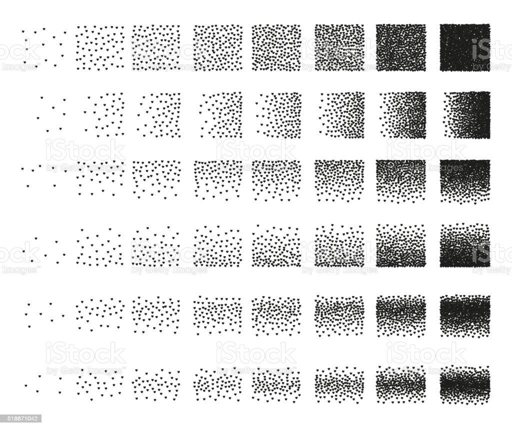 Ilustración de Corazones Punteado Conjunto De 48 Patrones De Diseño ...