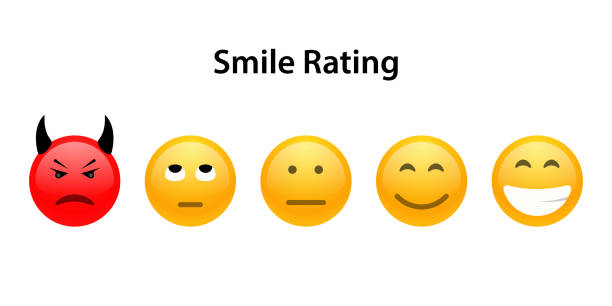 set 5 gesichter-skala - neutral traurigen lächeln - smileys zum kopieren stock-grafiken, -clipart, -cartoons und -symbole