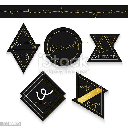 5 Set label for business. Label trademark. The label for the shares . Emblem realistic trading . The label for the sphere of industry . Black with gold emblem .