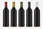 Set 5 realistic vector black bottles of wine without labels isolated on transparent background. Design template in EPS10