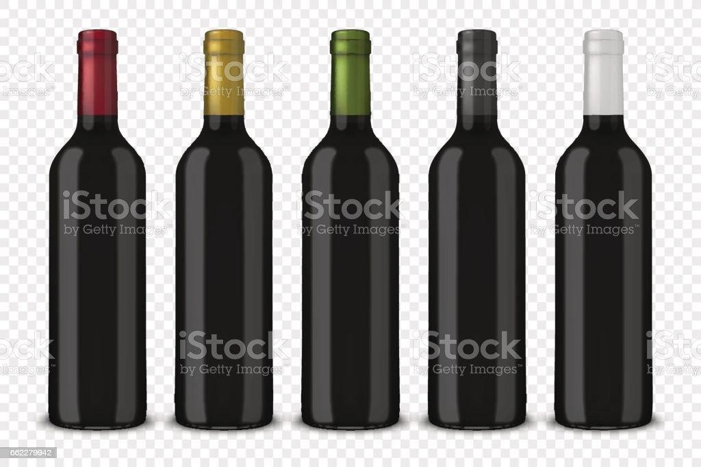 La valeur 5 bouteilles noir réaliste vecteur de vin sans étiquettes isolés sur fond transparent. Modèle de conception dans EPS10 - Illustration vectorielle