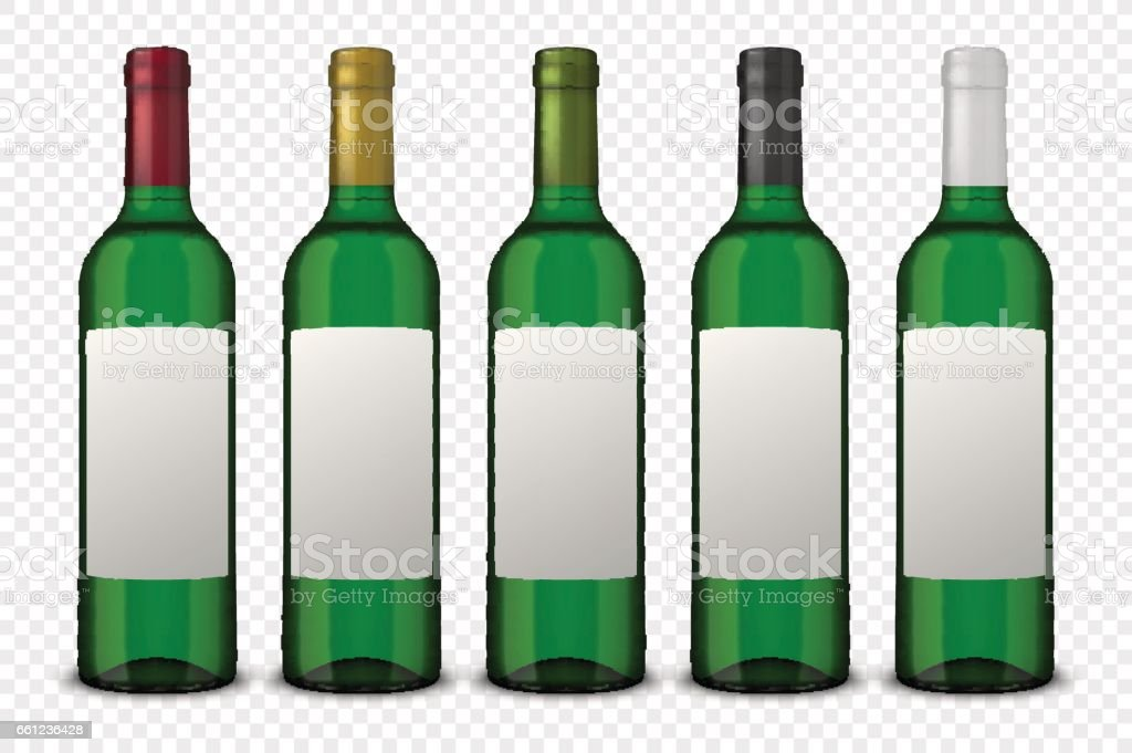Set 5 realistic vector green bottles of wine with white labels isolated on transparent background. Design template in EPS10 vector art illustration