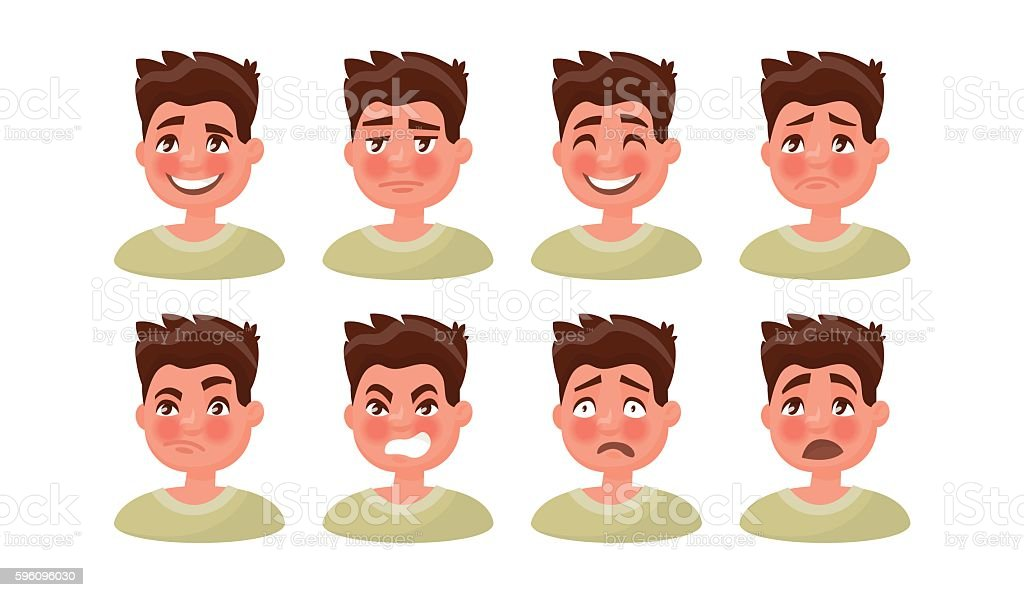 Set a man with a variety of emotions. Vector illustration royalty-free set a man with a variety of emotions vector illustration stock vector art & more images of adult