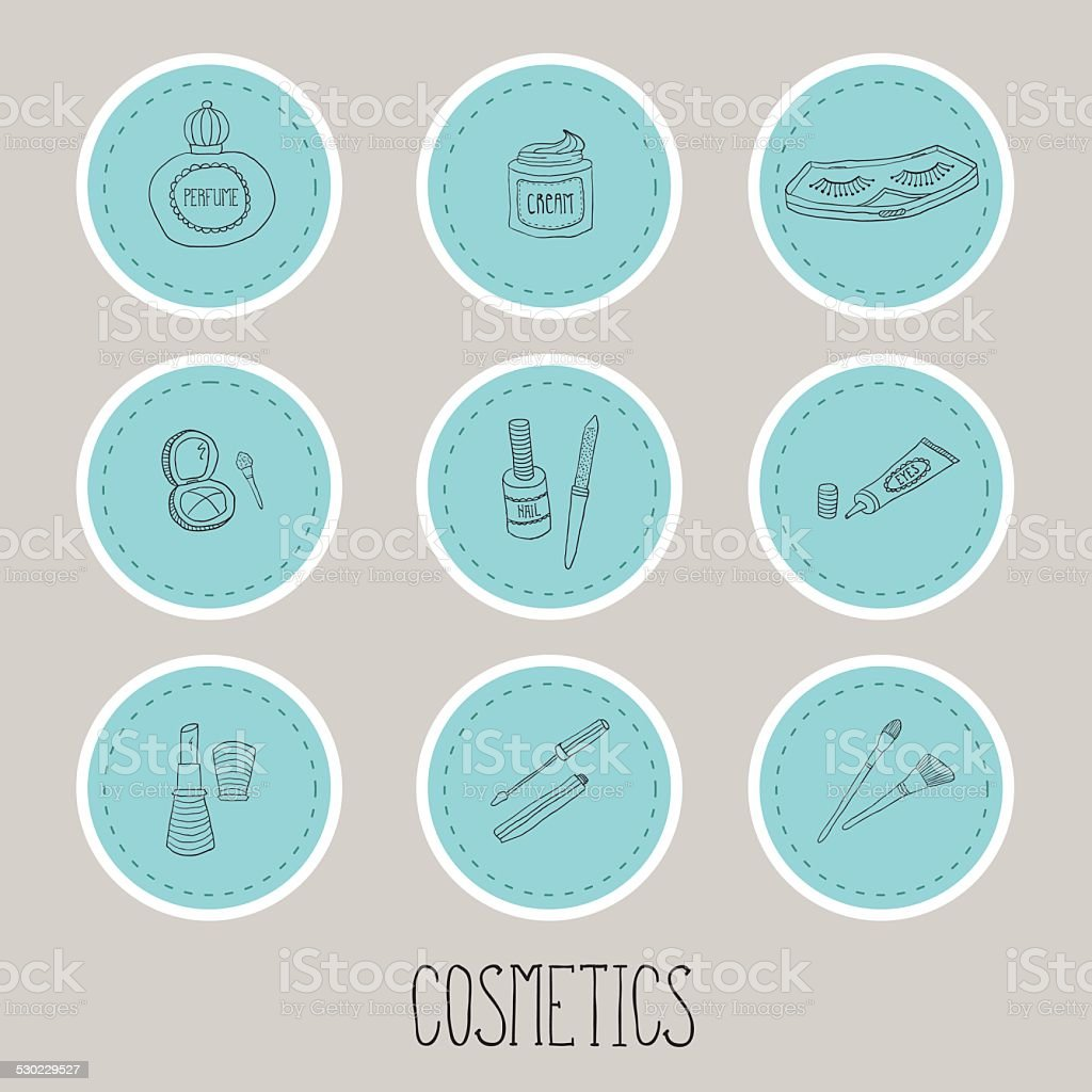 Set a stickers of beauty and cosmetics icons doodles vector art illustration