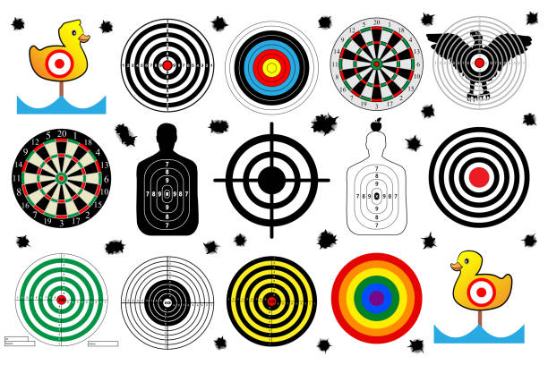 set a target for shooting range, bullet holes, vector set a target for shooting range, bullet holes, vector gun stock illustrations