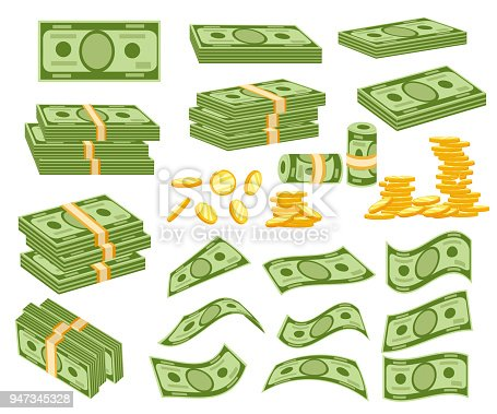 Set a various kind of money. Packing in bundles of bank notes, bills fly, gold coins. Vector illustration isolated on white background. Web site page and mobile app design.