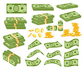 Set a various kind of money. Packing in bundles of bank notes, bills fly, gold coins. Vector illustration isolated on white background. Web site page and mobile app design