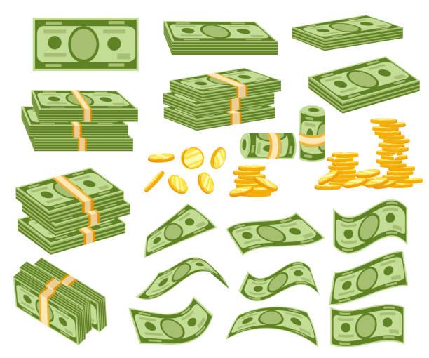 ilustrações, clipart, desenhos animados e ícones de defina um vário tipo de dinheiro. embalagem em pacotes de notas de banco, contas de moedas de ouro, moscas. ilustração em vetor isolada no fundo branco. página web site e design de aplicativo móvel - moeda