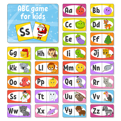 Set ABC flash cards. Alphabet for kids. Learning letters. Education developing worksheet. Activity page for study English. Color game for children. Vector illustration. Cartoon style.