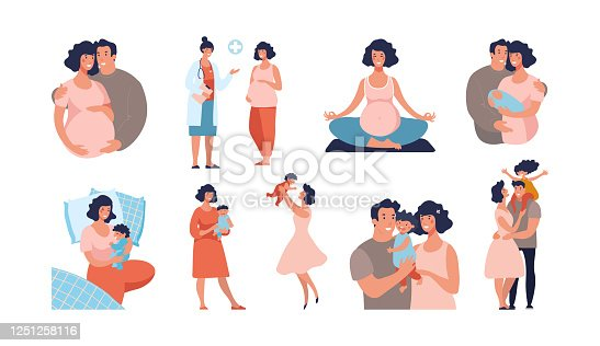 Set about pregnancy and motherhood. Dad and mom with a baby, the child is growing, visit doctor, yoga for pregnant women, a happy family. Flat vector cartoon illustration isolated on white background.