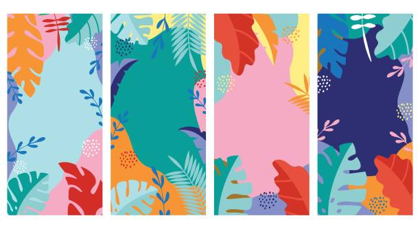 set abstract background, summer 1 - jungle stock illustrations