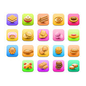 Set Abstract Collection Elements  Cookie Vector Design Style Background Illustration