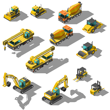 Set Abstract Collection Isometric 3D Building Transport Car Vector Design Style