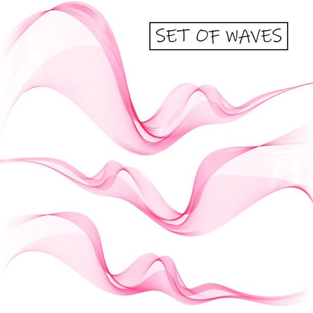 illustrazioni stock, clip art, cartoni animati e icone di tendenza di set abstract color smoke wave. pink wave. vector abstract lines. eps10 - profumo