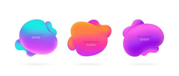 ilustrações de stock, clip art, desenhos animados e ícones de set abstract liquid shape. fluid design. isolated gradient waves. modern vector illustration - amiba