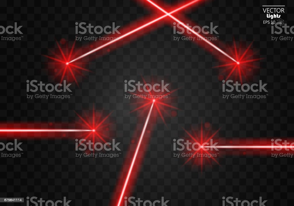 Set abstract red laser beams. Isolated on transparent black background. vector art illustration