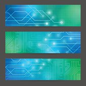 Set Abstract technology computer vector banners