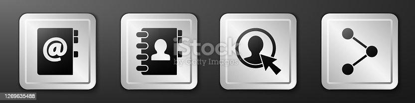 istock Set Address book, Address book, Create account screen and Share icon. Silver square button. Vector 1269635488