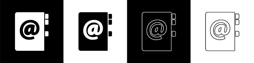 Set Address book icon isolated on black and white background. Notebook, address, contact, directory, phone, telephone book icon. Vector Illustration