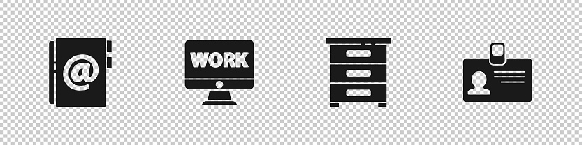 Set Address book, Monitor with text work, Drawer documents and Identification badge icon. Vector