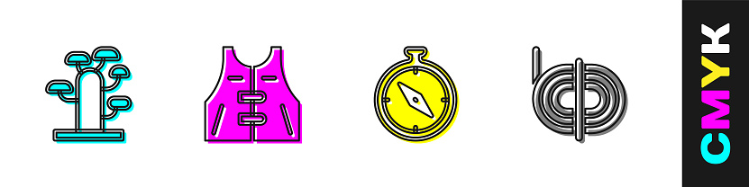 Set African tree, Hunting jacket, Compass and Climber rope icon. Vector