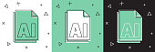 Set AI file document. Download ai button icon isolated on white and green, black background. AI file symbol. Vector Illustration