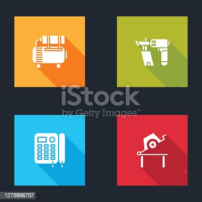 Set Air compressor, Nail gun, Telephone and Table saw for woodwork icon. Vector.