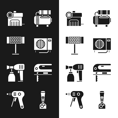 Set Air conditioner, Electric heater, compressor, Paint spray gun and jigsaw icon. Vector