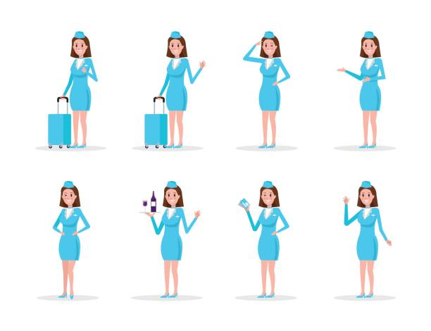 Set Air hostess in Blue uniform, isolated on white. vector art illustration