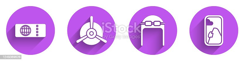 Set Airline ticket, Plane propeller, Aviator hat with goggles and Airplane window icon with long shadow. Vector